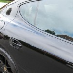 Sylvester Stallone's 2010 black Porsche Panamera 4S Side view Rear doors