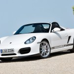 2010 White Porsche Boxster Spyder wallpaper Front angle side view
