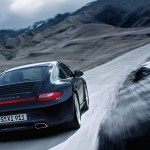 2011 Black Porsche 911 Carrera 4 Wallpaper Rear angle view