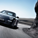 2011 Black Porsche 911 Carrera 4 Wallpaper Front angle view