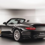 2011 Black Porsche 911 Turbo S Cabriolet Wallpaper Rear angle side view
