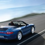 2011 Blue Porsche 911 Carrera 4S Cabriolet Wallpaper Rear angle side view