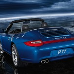 2011 Blue Porsche 911 Carrera 4S Cabriolet Wallpaper Rear angle view