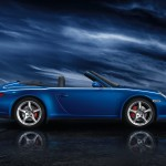 2011 Blue Porsche 911 Carrera 4S Cabriolet Wallpaper Side view