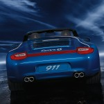 2011 Blue Porsche 911 Carrera 4S Cabriolet Wallpaper Rear view