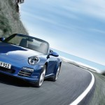 2011 Blue Porsche 911 Carrera 4S Cabriolet Wallpaper Front angle view