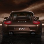 2011 Brown Porsche 911 Carrera S Wallpaper Rear view
