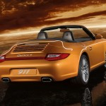 2011 Gold Porsche 911 Carrera 4 Cabriolet Wallpaper Rear angle side view