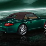 2011 Green Porsche 911 Carrera S Cabriolet Wallpaper Side angle view Roof on