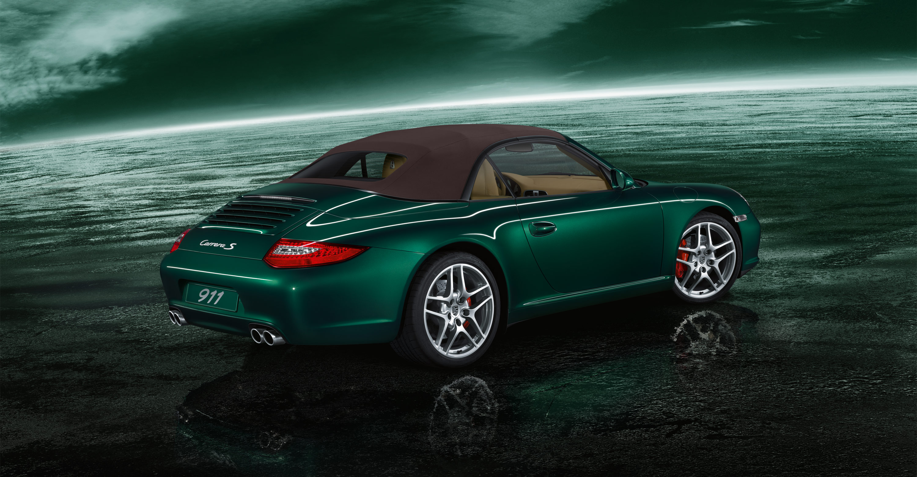 2011 Green Porsche 911 Carrera S Cabriolet Wallpapers