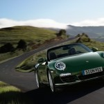 2011 Green Porsche 911 Carrera S Cabriolet Wallpaper Front angle view
