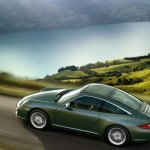 2011 Green Porsche 911 Targa 4 Wallpaper Side angle top view