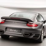 2011 Grey Porsche 911 Turbo Wallpaper Rear angle view