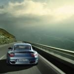 2011 Ice Blue Porsche 911 Turbo S Wallpaper Rear view