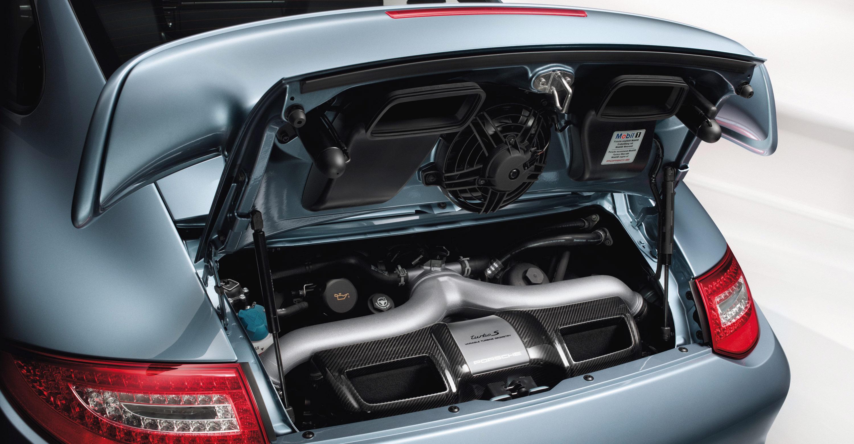 2011 Ice Blue Porsche 911 Turbo S Wallpaper Rear view Engine
