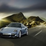2011 Ice Blue Porsche 911 Turbo S Wallpaper Front angle view