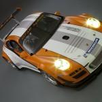 2011 Orange Porsche 911 GT3 R Hybrid 2.0 Front angle view
