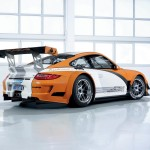 2011 Orange Porsche 911 GT3 R Hybrid Wallpaper Side rear angle view
