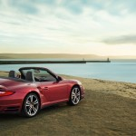 2011 Red Porsche 911 Turbo Cabriolet Wallpaper Side angle view