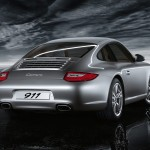 2011 Silver Porsche 911 Carrera Wallpaper Rear angle view