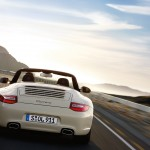 2011 White Porsche 911 Carrera Cabriolet Wallpaper Rear view