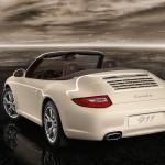 2011 White Porsche 911 Carrera Cabriolet Wallpaper Rear angle view