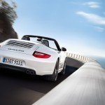 2011 White Porsche 911 Carrera GTS Cabriolet Wallpaper Rear angle view