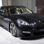 2011 black Porsche Panamera Turbo S at New York Autoshow Front angle view