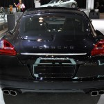2011 black Porsche Panamera Turbo S at New York Autoshow Rear view
