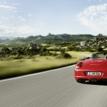 2011 Guards Red Porsche Boxster S wallpaper Rear view