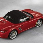 2011 Guards Red Porsche Boxster S wallpaper Side angle Top view Roof on