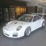 Bellet Racing 2011 white Porsche 911 GT3 Cup Car Front angle view