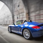 Blue 2011 Porsche Boxster Spyder Side angle view