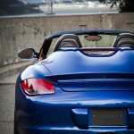 Blue 2011 Porsche Boxster Spyder Rear view