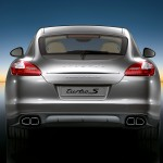 Topaz brown Metallic 2011 Porsche Panamera Turbo S wallpaper Rear view