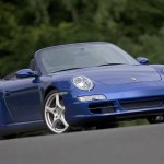 2006 Blue Porsche 911 Carrera 4 Cabriolet Wallpaper Front angle side view