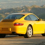 2006 Yellow Porsche 911 Carrera Coupe Wallpaper Rear angle side view