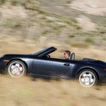 2007 Black Porsche 911 Carrera 4S Cabriolet Wallpaper Side view