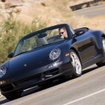 2007 Black Porsche 911 Carrera 4S Cabriolet Wallpaper Front angle side view