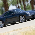2007 Black Porsche 911 Carrera 4S Cabriolet Wallpaper Front angle side view Roof on