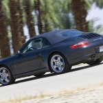 2007 Black Porsche 911 Carrera 4S Cabriolet Wallpaper Rear angle view Roof on