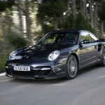 2007 Black Porsche 911 Turbo Wallpaper Front angle side view