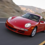 2007 Red Porsche 911 Carrera 4 Wallpaper Front angle view