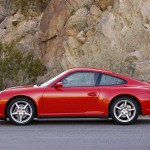 2007 Red Porsche 911 Carrera 4 Wallpaper Side view
