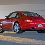 2007 Red Porsche 911 Carrera 4 Wallpaper Rear angle side view