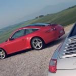 2007 Red Porsche 911 Targa 4 Wallpaper Side angle view
