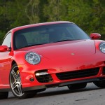2007 Red Porsche 911 Turbo Wallpaper Front angle view
