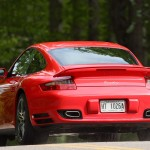 2007 Red Porsche 911 Turbo Wallpaper Rear angle view