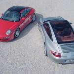 2007 Silver Porsche 911 Targa 4S Wallpaper Rear angle top view
