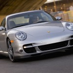 2007 Silver Porsche 911 Turbo Wallpaper Front angle view